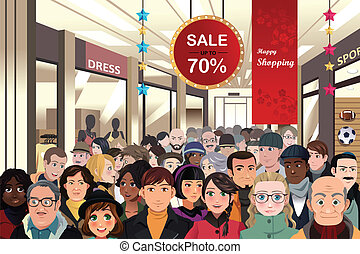 Holiday shopping sale scene - A vector illustration of...
