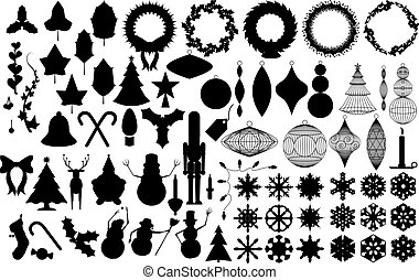 holiday silhouettes - wreaths, ornaments, greenery,...