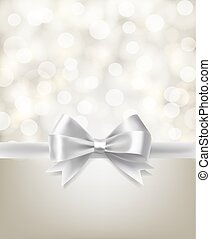 holiday silver bow ribbon and light effects blurry background. vector design template