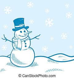 Holiday snowman background