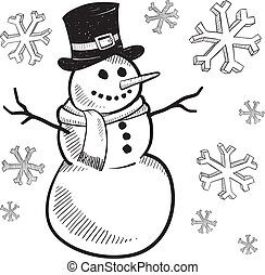 Holiday snowman sketch - Doodle style holiday snowman ...