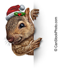 Holiday Squirrel Vertical - Holiday squirrel vertical sign...