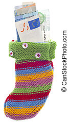 Holiday Stocking Sock Filled with Euro Currency