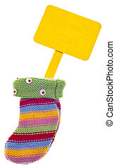 Holiday Stocking Sock with Blank Sign for Message