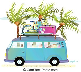 Holiday summer trip bus for beach tropical vacation with...