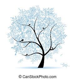 holiday., tél, karácsonyfa, snowflakes.