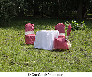 holiday table with chairs on the nature