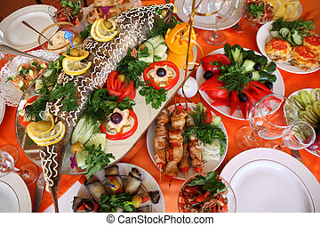 holiday table with food
