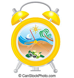 holiday time - alarm clock with sea landscape