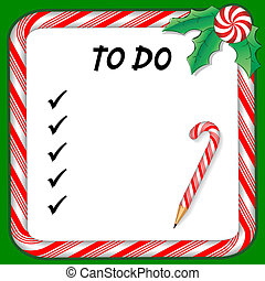 Christmas holiday to do list on whiteboard with candy cane frame in red and green, pencil, holly, peppermint candy. EPS8 compatible.