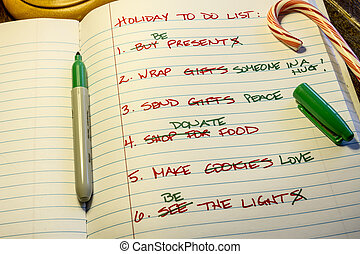 Holiday To Do List - Holiday to do list written on lined...