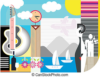 Holiday travel - abstract vector collage. Can be used for ...