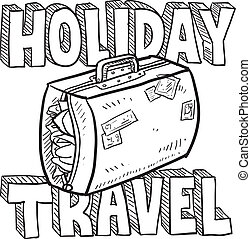 Holiday travel vector sketch - Doodle style holiday travel...