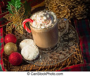Holiday Treats - Cup of peppermint hot chocolate and sugar ...