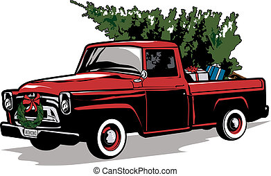 Holiday Truck - A vintage style truck loaded with a tree and...