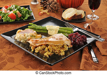 Holiday turkey dinner - A turkey dinner on a holiday table ...