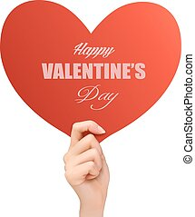 Holiday valentine background with hand holding red heart. Vector