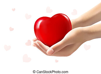 Holiday valentine background with two hands holding red heart. Vector