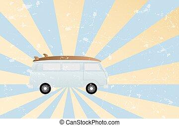 holiday van illustration in retro style