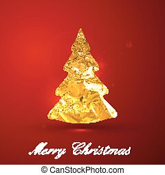 Holiday vector illustration of a golden metallic foil Christmas