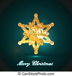 Holiday vector illustration of a golden metallic foil snowflake
