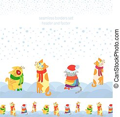 Holiday vector seamless borders set with Christmas cats sitting in the snow, header and footed for seasonal decoration web sites, cards, interior and printing