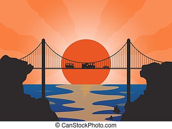 A convoy of holiday vehicles on a suspension bridge at sunset over the ocean