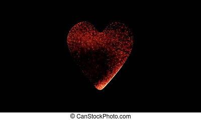 particles randomly fill the heart shape - holiday video,...