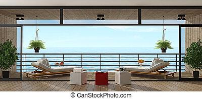 Holiday villa with wooden veranda