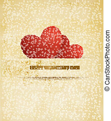 Holiday vintage Valentine`s day background. Two red hearts on old paper. Vector illustration