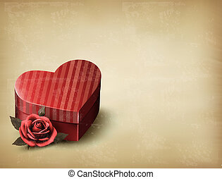 Holiday vintage Valentine`s day background. Red rose with red heart-shaped gift box. Vector illustration.