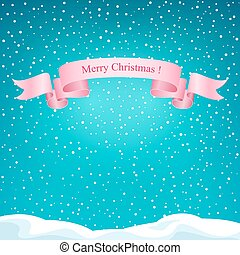 Holiday Winter Background with Pink Ribbon
