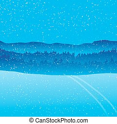 Holiday winter landscape background with forest mountain.