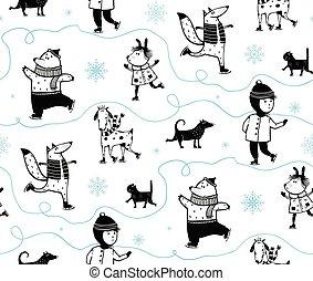 Holiday Winter Skiing Animals Pattern