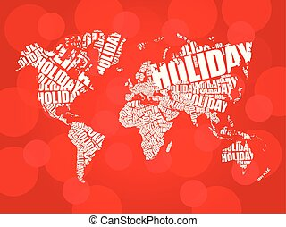 HOLIDAY word in shape of World Map