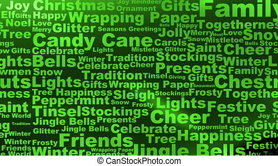 Holiday words background in green looping animated abstract background