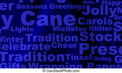 Holiday words loop on soft subtle blue and black background
