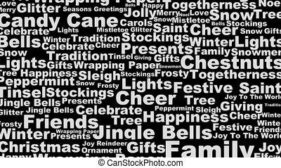 Holiday words scrolling up loop - Christmas Looping black...