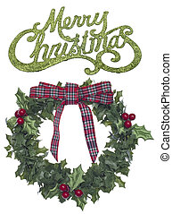 Holiday Wreath with Merry Christmas