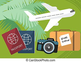 Holidays and travel to the islands with a passport facilities, backpack, photo camera. By plane. Vector