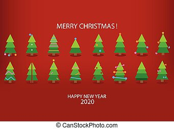 Holiday's Background with Season Wishes and colorful cartoon Christmas trees