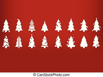 Holiday's Background with Season Wishes and white silhouette Christmas trees