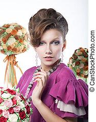 Holidays - beauty girl with festive flowers art portrait