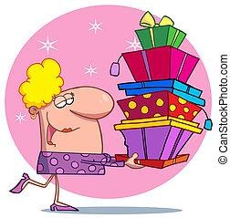 Holidays blond lady shopper - Female Christmas Shopper...