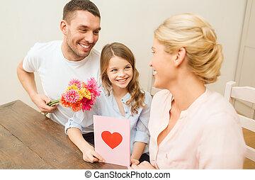 happy family celebrating mothers day - holidays, family,...