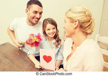 happy family celebrating mothers day