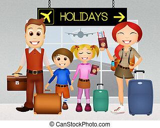 Illustration Of Happy Holidays Family Stock