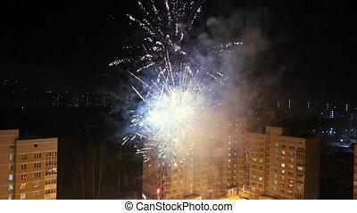 Holidays firework in closeup