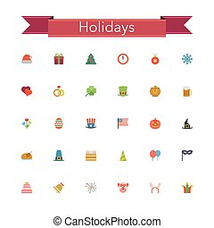 Holidays Flat Icons - Holidays and events flat icons set. ...