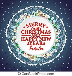 Holidays frame with winter houses and trees. Merry Christmas and Happy New Year lettering Vector illustration